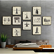 Set of 10 Stretched Canvas Print  Art Retro Famous Europe Architecture