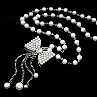 Women's European Style Fashion Bow Long Imitation Pearl Alloy Necklace
