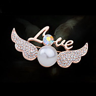 Women's Alloy Love Wing Casual/Party Brooches & Pins With Pearl/Rhinestone