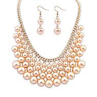 Women's European Style Fashion Tassel Imitation Pearl Wedding Necklace Earrings Set