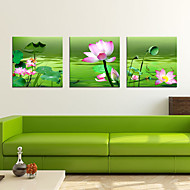 utskrifter plakat maleri lotusblomster bilde hjem print på lerret 3pcs / set (uten ramme)