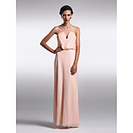 Formal Evening Dress - Pearl Pink Sheath/Column Strapless/V-neck Floor-length Sequined