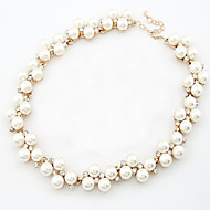 Women's European Style Fashion Imitation Pearl Rhinestone Alloy Necklace