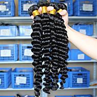 Trama do cabelo com Encerramento Cabelo Eurásio Onda Profunda 12 meses 4 Peças tece cabelo
