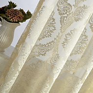 One Panel Ivory Flower Jacquard Sheer Curtain Drape