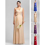 Floor-length Chiffon Bridesmaid Dress - Ruby / Grape / Royal Blue / Champagne Plus Sizes / Petite Sheath/Column One Shoulder / Sweetheart