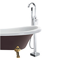 Contemporary Tub And Shower Handshower Included / Floor Standing with  Ceramic Valve Single Handle One Hole for  Chrome , Bathtub Faucet