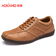 Aokang Men's Shoes Outdoor/Athletic/Casual Leather/Tulle Fashion Sneakers Black/Yellow