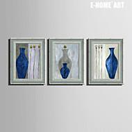 E-HOME® Framed Canvas Art,Vases And Flowers Framed Canvas Print Set of  3