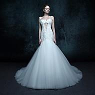 Trumpet/Mermaid Chapel Train Wedding Dress - Straps Tulle