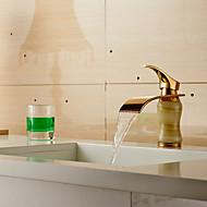 Modern Waterfall Brass Imitation Jade Ti-PVD Bathroom Sink Faucet - Golden