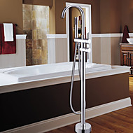 Contemporary Tub And Shower Handshower Included Floor Standing with  Ceramic Valve One Hole Single Handle One Hole for  Chrome , Shower