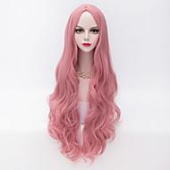 80 cm de comprimento do cabelo solto parte u ondulado rosa resistente ao calor de moda peruca sintética partido
