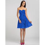 Short/Mini Chiffon Bridesmaid Dress - Fuchsia / Royal Blue / Ruby / Champagne / Grape Plus Sizes / Petite A-line Sweetheart