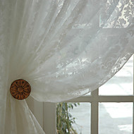 Two Panels Jacquard White Sheer Curtains Drapes