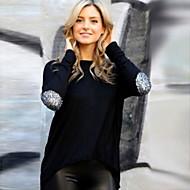여성의 라운드 넥 긴 소매 티셔츠 린넨/폴리에스테르/아크릴/면혼방