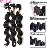 "3 Pcs Lot 8""-30""Peruvian Loose Wave Virgin Hair Wefts Natural Black 1B# Remy Human Hair Weave Bundles"