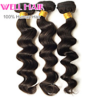 "3 Pcs Lot 8""-30""Indian Loose Wave Virgin Hair Wefts Natural Black 1B# Remy Human Hair Weave Bundles"