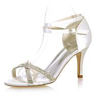 נעלי נשים - סנדלים - סטן - פתוח - שחור / כחול / סגול / אדום / שנהב / לבן / כסוף - חתונה / מסיבה וערב - עקב סטילטו