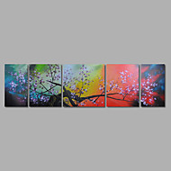 Hand-Painted Oil Painting on Canvas Wall Art Abstract Purple Blossom Flowers Five Panel Ready to Hang