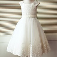 A-line Tea-length Flower Girl Dress - Lace / Tulle Short Sleeve Scoop with Buttons