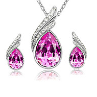 Korea Style Drop Shape Crystal Metal Glass Jewelry  Sets(Five Colors)(1Sets)