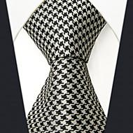 SXL9  Classic Dress Men's Neckties Black White Houndstooth 100% Silk Business Handmade