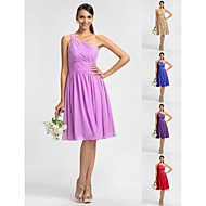 Homecoming Bridesmaid Dress Knee Length Chiffon Sheath Column One Shoulder Dress
