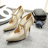 Women's Shoes Faux Leather Kitten Heel Heels Pumps/Heels Office & Career/Casual Green/Pink/White/Beige
