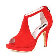 Sandály - Flís - S otevřenou špičkou - Dámská obuv - Černá / Červená - Šaty - Vysoký