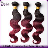 """3шт / много 10 """"-26"""" Ombre человеческих волос T1B / бордовый волосы Малайзии волна девственница теле связывает лучшее качество"""
