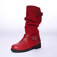 Women's Shoes Fleece Chunky Heel Fashion Boots/Round Toe Boots Dress Black/Brown/Red