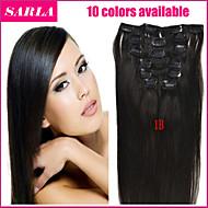 20-26inch (10pcs) / set cabelo virgem brasileiro 10 cores tramas duplas grampo em grampo reto em extensões de cabelo humano