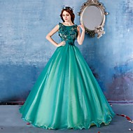 Formal Evening Dress - Dark Green Ball Gown Scoop Floor-length Satin