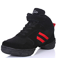 Modern Women's Dance Shoes Sneakers Leather+Canvas Low Heel Black and Red