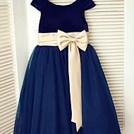 A-line Tea-length Flower Girl Dress - Tulle/Velvet Short Sleeve