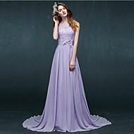 Formal Evening Dress - Purple A-line Bateau Court Train Chiffon