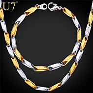 U7® Men's '316L' Stamp Stainless Steel Bracelet 18K Real Gold Plated G Pattern Vintage Men Chain Necklace Jewelry Set