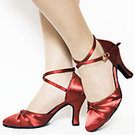 Customizable Women's Dance Shoes Latin/Standard Shoes Satin Customized Heel Black/Purple/Red/Chocolate