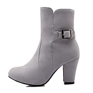Women's Shoes Chunky Heel Fashion Boots/Round Toe Boots Dress/Casual Black/Red/Gray