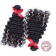 evet peruanska lös våg lockigt jungfru hår 2st mycket peruanska jungfru hår lockigt människohår väva buntar naturligt svart