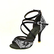 Customizable Women's Dance Shoes Lace Lace Latin / Salsa Sandals Customized Heel Practice / Beginner / Indoor Black / Yellow / Red