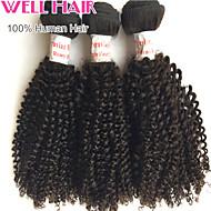 "4Pcs Lot 8""-30""Peruvian Virgin Hair Kinky Curly Natural Black Curly Human Weave Bundles Shed & Tangle Free"