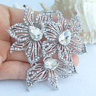 Wedding 2.76 Inch Silver-tone Clear Rhinestone Crystal Flower Bridal Brooch Pendant