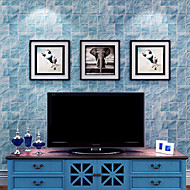 New Rainbow™ Wallpaper Brick Grain Stripe Wall Covering , Stripe Non-woven Paper