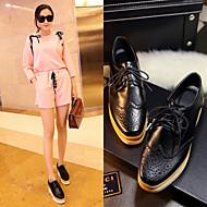 Chaussures Femme - Habillé - Noir - Talon Compensé - Bout Pointu - Richelieu - Similicuir