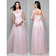 Floor-length Lace / Tulle Bridesmaid Dress - Pearl Pink A-line Scoop