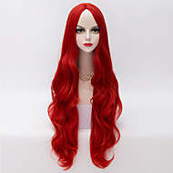 80cm Europese stijl lange losse golvend u deel haar rood hittebestendige synthetische lolita pruik