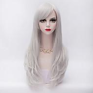 70cm långa lager lockigt hår med sido bang silvervit värmebeständiga syntet harajuku lolita mode peruk