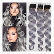 3kpl / erä halvalla parasta laatua Brasilian neitsyt hiusten kude kutoo body wave 1b / harmaa ombre hiuksia hopeanharmaa